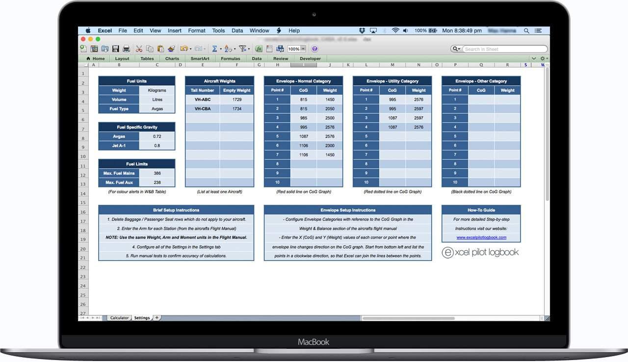 Aircraft Load Sheet Calculator - Spreadsheet Settings