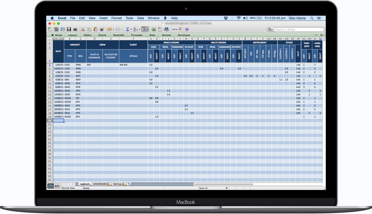 CASA-Australia-Excel-Pilot-Logbook-Entries