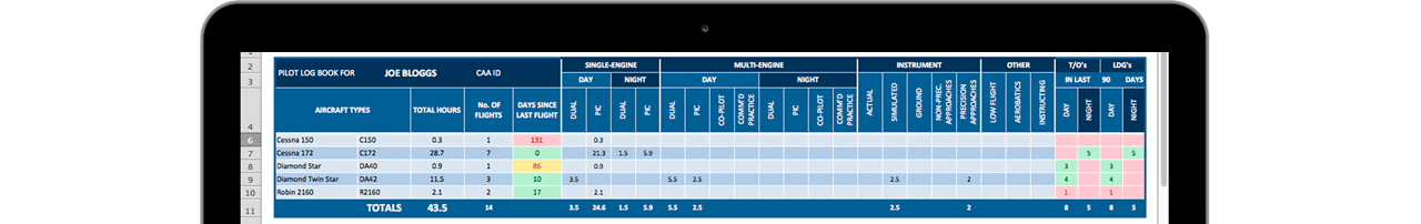Download Excel Pilot Logbook