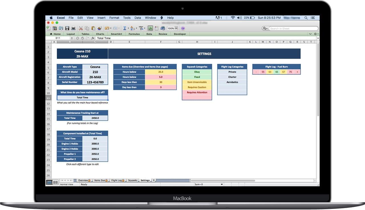 Aircraft Maintenance Tracker Spreadsheet Excel Pilot