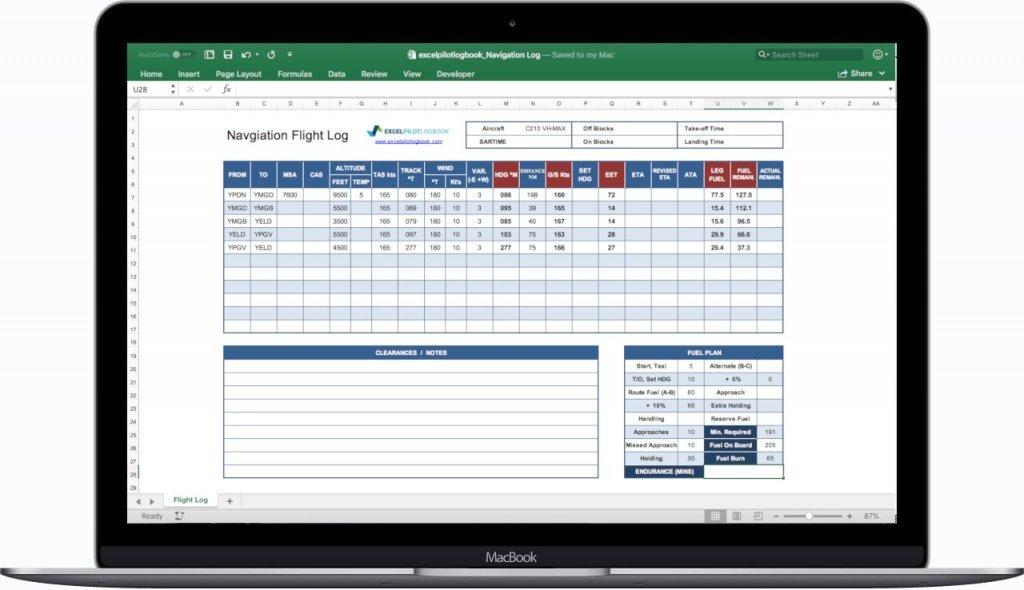 Excel Navigation Flight Log