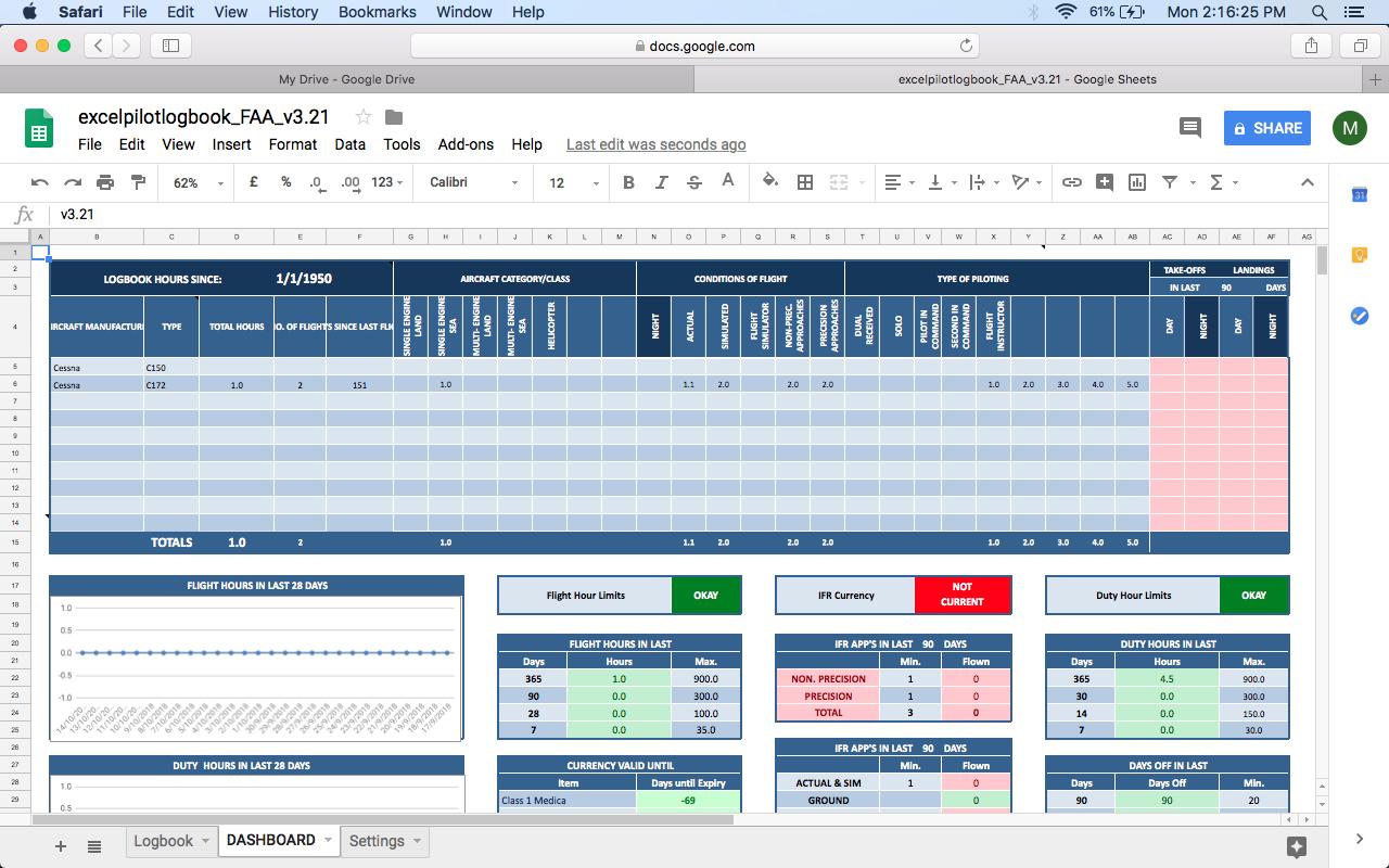 Google Sheets - Excel Pilot Logbook