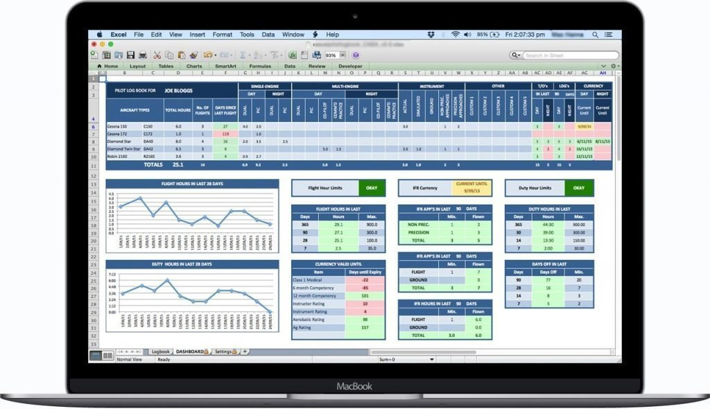 CAA-NZ-Excel-Pilot-Logbook-Dashboard