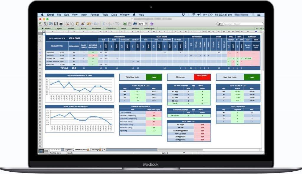 CASA-Australia-Excel-Pilot-Logbook-Dashboard