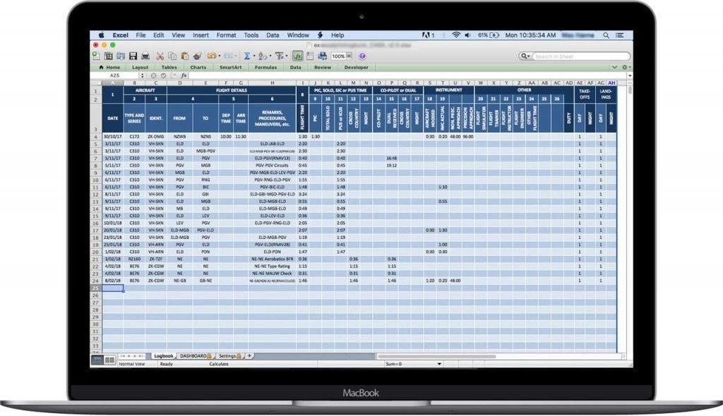 JCAB-Japan-Excel-Pilot-Logbook-Entries